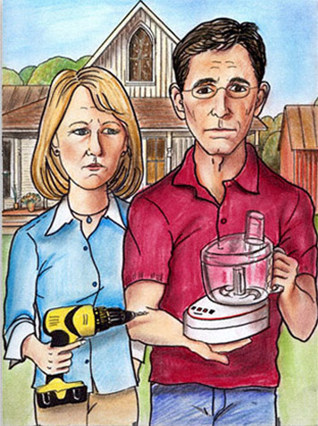 Parody Of The American Gothic Couple For A Trade Show Concept Created In Marker And Color Pencil