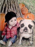 Child with Bulldog
