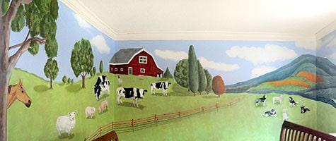 panoramic mural of farm